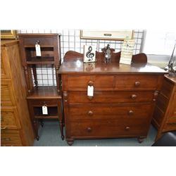 Antique walnut five drawer bedroom chest appears to be original finish plus two single drawer bedsid