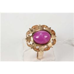 Ladies 10kt yellow gold and cabochon star riuby gemstone ring