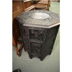 Octagonal antique Oriental handcarved occasional table with ebonized finish