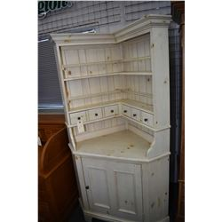 "French country style corner cabinet with plate rack top and cupboard base 80"" in height made by Kinc"