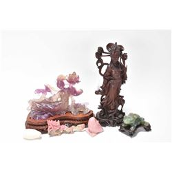 Selection of Oriental cabinet pieces including carved amethyst Guayin figure on carved wooden base 6