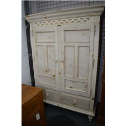 French country style modern pine two door chiffarobe with one side fitted with shelves and the other