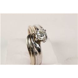 Ladies platinum and 18kt white gold diamond wedding set. Engagement ring set with 0.35ct brilliant w
