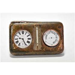 Antique cased travel barometer and pocket watch compendium labelled by Edward and Sons, Glasgow incl