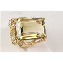 14kt yellow gold and citrine gemstone ring set with 12.00ct natural emerald cut citrine gemstone. Re