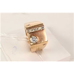 10kt yellow gold custom made signet ring set with diamonds. Retail replacement value $2,150.00
