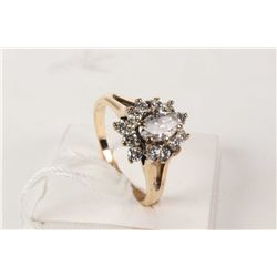 Ladies 14kt yellow and white gold fancy cut diamond ring set with 0.50ct center diamond and 0.50cts