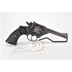 Restricted handgun Webley model Mark IV, .38 S&W 6 shot double action revolver hinge break, w/ bbl l