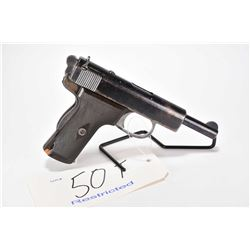 Restricted handgun Webley & Scott model 1909, 9mm Browning Long 8 shot semi automatic, w/ bbl length