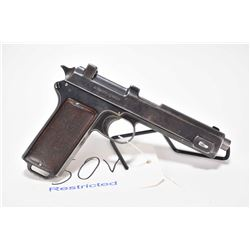 Restricted handgun Steyr 1912 model 1911, 9mm Steyr 8 shot semi automatic, w/ bbl length 130mm [Blue