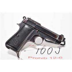 Prohib 12-6 handgun Beretta model 1934, 9mm Browning short 7 shot semi automatic, w/ bbl length 87mm