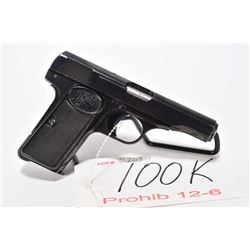 Prohib 12-6 handgun FN Browning model 1910, 7.65mm 7 shot semi automatic, w/ bbl length 89mm [Blued
