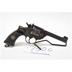 Restricted handgun Enfield model No2 MkI, .38 cal 6 shot hinge break auto eject, w/ bbl length 127mm