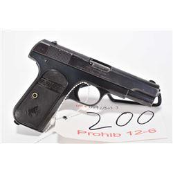 Prohib 12-6 handgun Colt model 1903 Pocket hammerless, .32 auto 8 shot semi automatic, w/ bbl length