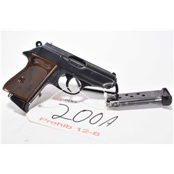 Prohib 12-6 handgun Walther model PPK, 7.65mm 7 shot semi automatic, w/ bbl length 83mm [Blued finis
