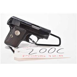 Prohib 12-6 handgun Colt model 1908 Pocket, .25 cal. 6 shot semi automatic, w/ bbl length 51mm [Blue