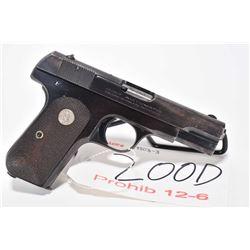 Prohib 12-6 handgun Colt model 1903 Pocket hammerless, .32 auto cal. 8 shot semi automatic, w/ bbl l