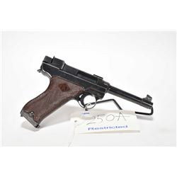 Restricted handgun Valmet Lahti model L-35, 9mm Luger mag fed. 8 shot semi automatic, w/ bbl length