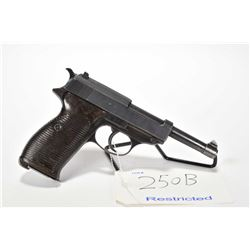 Restricted handgun Walther model P38, 9mm Luger mag fed. 8 shot semi automatic, w/ bbl length 127mm