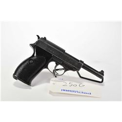 Restricted handgun Walther (Spreewerk) model P38, 9mm Luger mag fed. 8 shot semi automatic, w/ bbl l