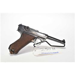 Restricted handgun Luger (DWM) model P08, 9mm Luger mag fed. 8 shot semi automatic, w/ bbl length 11