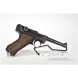 Restricted handgun Luger model P08 (S/42), 9mm mag fed. 8 shot semi automatic, w/ bbl length 110mm [