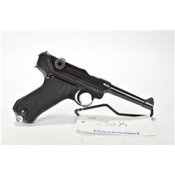 Restricted handgun Luger (BYF) model P08, 9mm Luger mag fed. 8 shot semi automatic, w/ bbl length 11