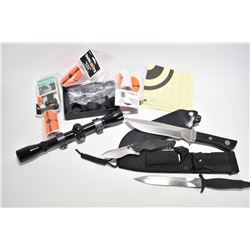 Selection of miscellaneous firearms items including Brownells Scoplevel, folding knife, scope ring,