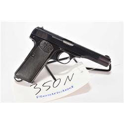 Restricted handgun Browning model 1922, 9mm Browning Short 8 shot semi automatic, w/ bbl length 114m