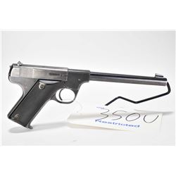 Restricted handgun High Standard model B, .22 LR 10 semi automatic, w/ bbl length 171mm [Blued finis