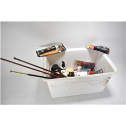 White plastic tub containing black powder items including grease, .50 cal Sabots, Hornady round lead