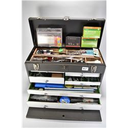 Tool box and contents including gun cleaning rods and brushes, trigger locks, mini screwdrivers and