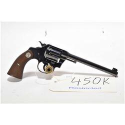 Restricted handgun Colt model Police Positive Flat Top, .22 LR 6 shot double action revolver, w/ bbl