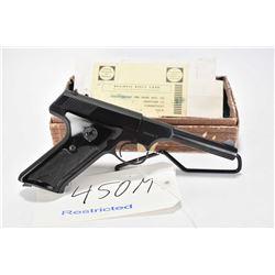 Restricted handgun Colt model Huntsman, .22 LR 10 shot semi automatic, w/ bbl length 114mm [Blued fi