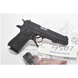 "Restricted handgun PAC model M1911A1, .45 ACP 8 shot semi automatic, w/ bbl length 127"" [Parkerized"
