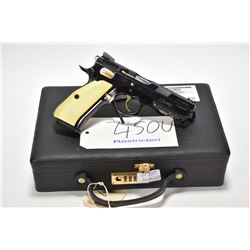 Restricted handgun CZ model 75 SP-01 Shadow, 9mm mag fed 10 shot semi automatic, w/ bbl length 114mm