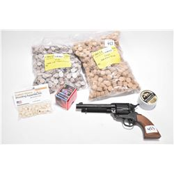 Selection of firearms items including ME Ranger .380 blanks firing single action revolver with tin o