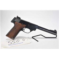 Restricted handgun High Standard model Supermatic Tournament, .22 LR 10 semi automatic, w/ bbl lengt
