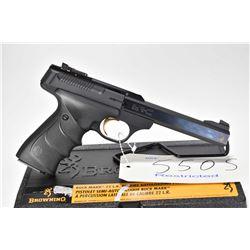 Restricted handgun Browning model Buck Mark, .22 LR 10 shot semi automatic, w/ bbl length 140mm [Com