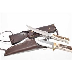 Two knives including Puma skinner 116393 and a Elk Hunter Stag 816060 both with leather sheaths and