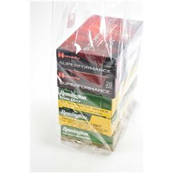 Five full 20 count boxes of 7mm Remington Magnum ammunition including Hornady 154 grain, Hornady 162