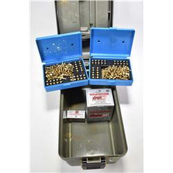 Plastic ammo/utility box and contents including approximately 400 rounds of Winchester .22 LR ammo.