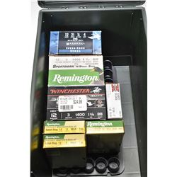 Plastic MTM Case-Gard ammo can with selection of full boxes of 12 gauge shot gun ammo. including Fed
