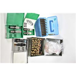 Selection of 30-06 reloads and accessories including blue plastic case containing 50 rounds reloads,