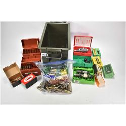 Plastic ammo. box and contents including .308 Winchester reloads and accesories, inlcuding projectil