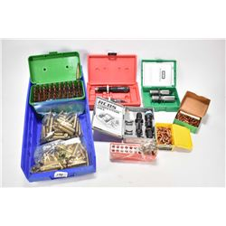 Selection of 8X 57 Mauser reloads and accessories including green plastic case with 51 rounds of rel