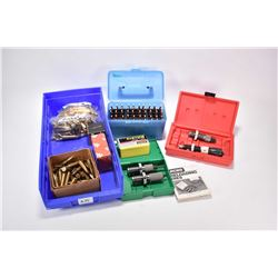 Selection of reloads and reloading items including blue plastic container of 50 count of 7X57 Norma