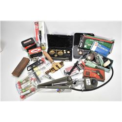 "Selection of tools and miscellaneous firearms items including balance scale, NSK 0-1"" micrometer, Ai"