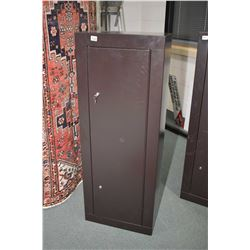 Floor standing single door brown coloured floor safe and three soft gun cases. Not available for shi