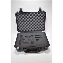 Pelican No.1500 hard case with foam lining, note: foam has been cut out for pistol fit.